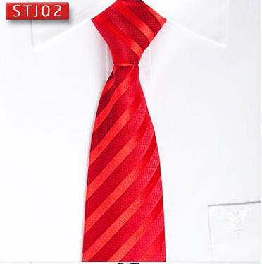 大红条纹真丝领