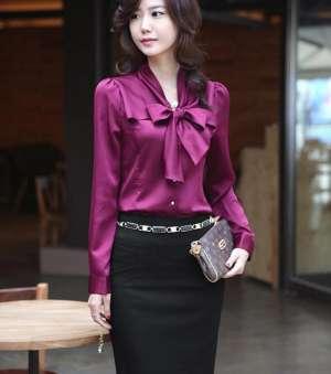 紫色真丝衬衫