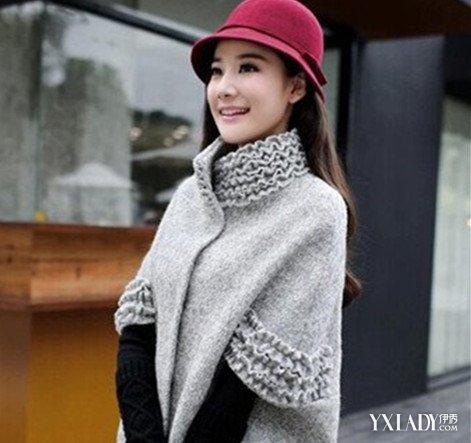 【图】巧搭冬季蝙蝠针织披肩斗篷外套让你甜美优雅又个性十足